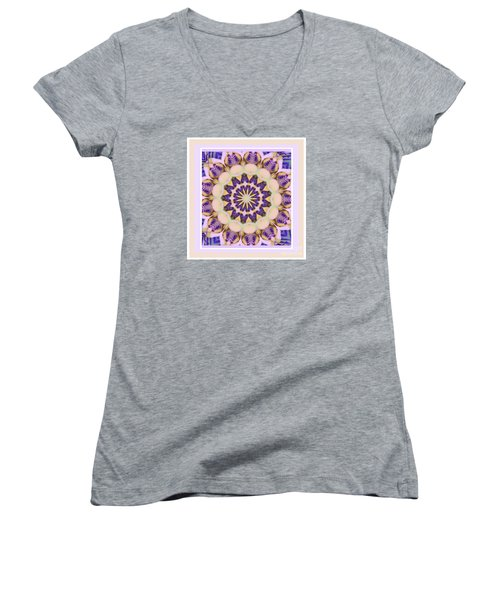 Center Of Passion Flower Women's V-Neck (Athletic Fit)