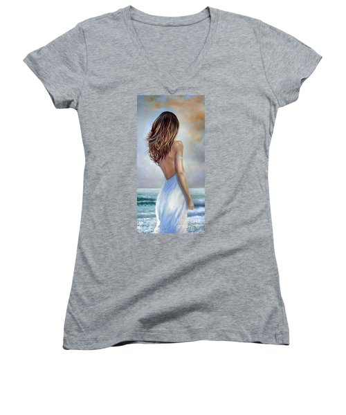 Women's V-Neck T-Shirt (Junior Cut) featuring the painting A Walk On The Beach by Michael Rock