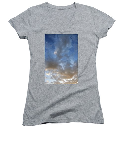 Women's V-Neck T-Shirt (Junior Cut) featuring the photograph Central Coast Clouds 1 by Michael Rock