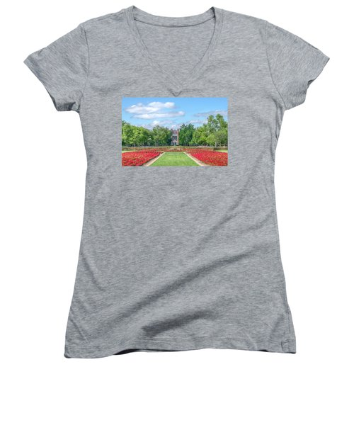 Central Grounds And Gardens At University Of Oklahoma Women's V-Neck (Athletic Fit)