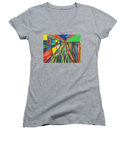 Central Hill - London Sw19 Women's V-Neck T-Shirt (Junior Cut) by Mudiama Kammoh