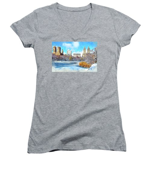 Women's V-Neck T-Shirt (Junior Cut) featuring the digital art Central Park In Winter by Kai Saarto