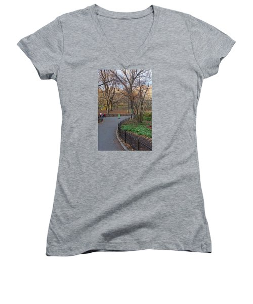 Women's V-Neck T-Shirt (Junior Cut) featuring the photograph Central Park by Melinda Saminski