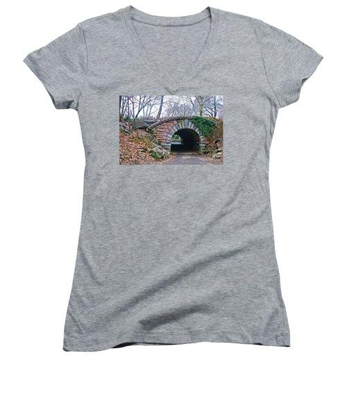 Central Park, Nyc Bridge Landscape Women's V-Neck (Athletic Fit)