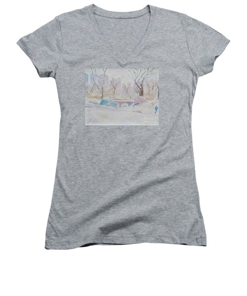 Central Park Record Early March Cold Circa 2007 Women's V-Neck T-Shirt