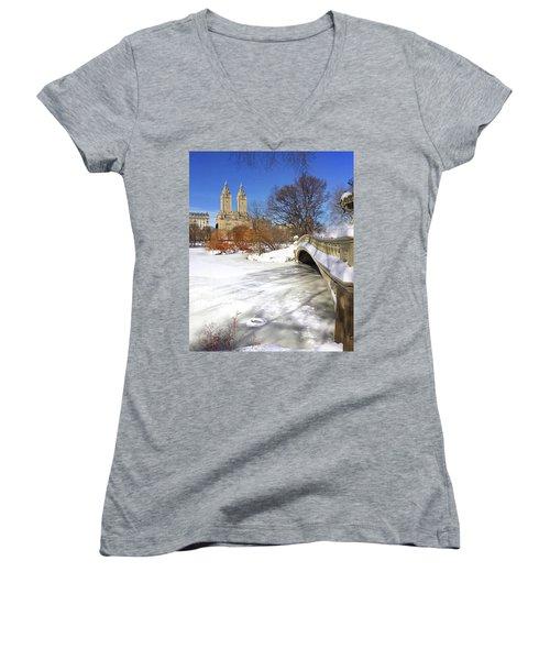 Central Park Winter Women's V-Neck T-Shirt