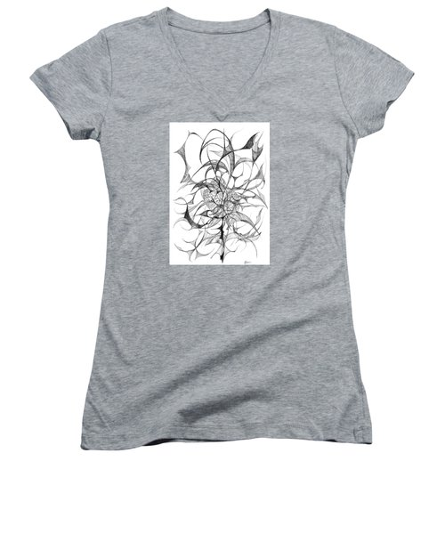Centred Women's V-Neck T-Shirt (Junior Cut) by Charles Cater
