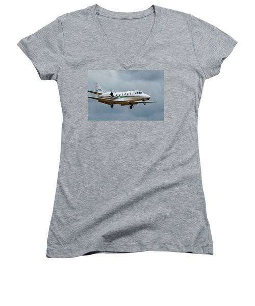 Cessna Citation X Landing Women's V-Neck T-Shirt