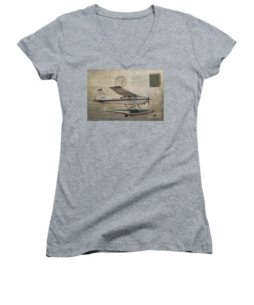 Cessna Skywagon 185 On Vintage Postcard Women's V-Neck (Athletic Fit)