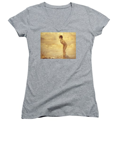 Chabas: September Morn Women's V-Neck T-Shirt