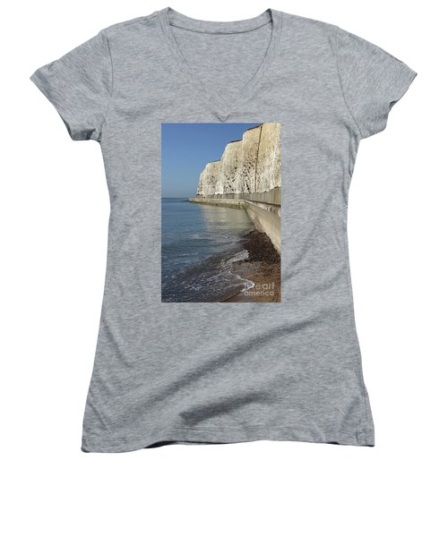 Chalk Cliffs At Peacehaven East Sussex England Uk Women's V-Neck