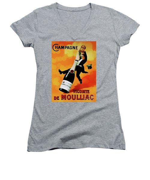 Champagne Celebration Women's V-Neck T-Shirt (Junior Cut) by Ian Gledhill