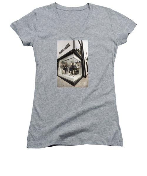 Chanel Women's V-Neck T-Shirt (Junior Cut) by David Bearden