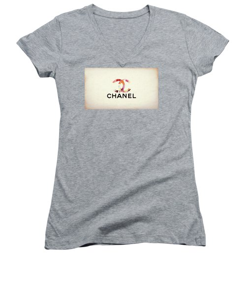 Chanel Floral Texture  Women's V-Neck