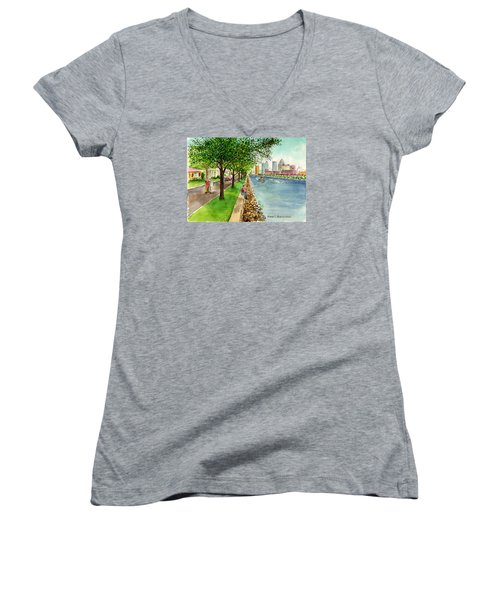 Channel Drive Tampa Florida Women's V-Neck T-Shirt (Junior Cut) by Frank Hunter