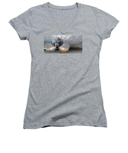 Women's V-Neck T-Shirt (Junior Cut) featuring the digital art Chaos by Alex Grichenko