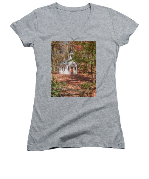 Chapel In Woods At Red Mill 3 Women's V-Neck (Athletic Fit)