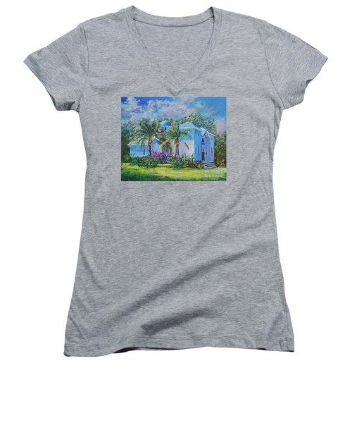 Chapel Of St. Panteleimon Women's V-Neck T-Shirt (Junior Cut) by AnnaJo Vahle