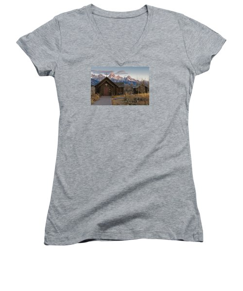 Chapel Of The Transfiguration - II Women's V-Neck T-Shirt (Junior Cut) by Gary Lengyel