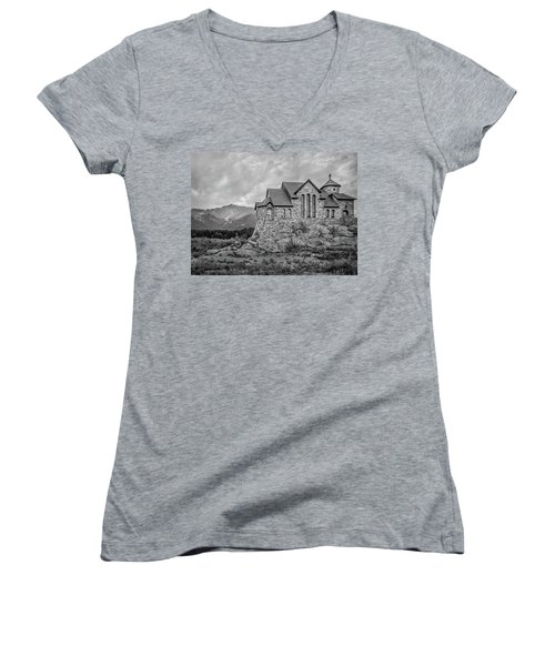 Chapel On The Rock - Black And White Women's V-Neck