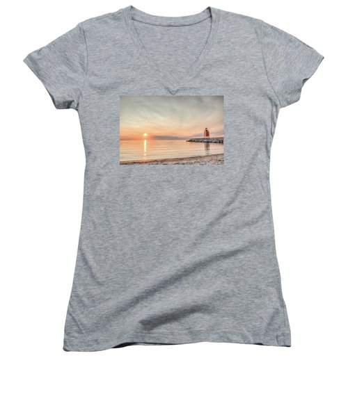 Women's V-Neck T-Shirt (Junior Cut) featuring the photograph Charelvoix Lighthouse In Charlevoix, Michigan by Peter Ciro