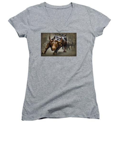 Charging Bull Women's V-Neck T-Shirt (Junior Cut) by Dyle Warren