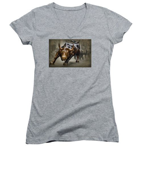 Charging Bull Women's V-Neck T-Shirt