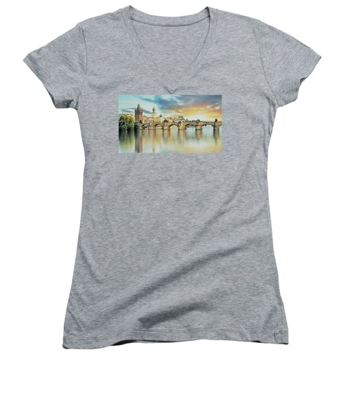 Charles Bridge Women's V-Neck T-Shirt (Junior Cut) by Maciek Froncisz