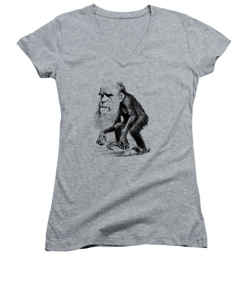 Charles Darwin As An Ape Cartoon Women's V-Neck T-Shirt (Junior Cut) by War Is Hell Store
