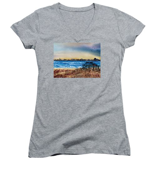 Women's V-Neck T-Shirt (Junior Cut) featuring the painting Charleston At Sunset by Lil Taylor