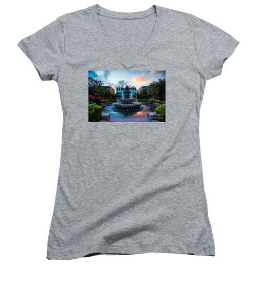 Charleston Pineapple Sunset Women's V-Neck T-Shirt (Junior Cut) by Robert Loe