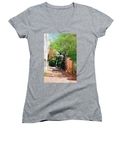 Women's V-Neck T-Shirt (Junior Cut) featuring the photograph Charlestons Alley by Donna Bentley