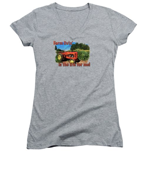 Charlie The Tractor Women's V-Neck T-Shirt