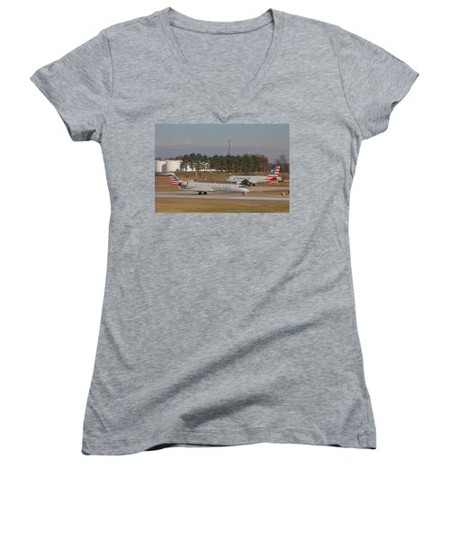 Charlotte Douglas International Airport 21 Women's V-Neck T-Shirt