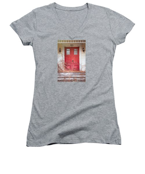 Women's V-Neck T-Shirt (Junior Cut) featuring the photograph Charming Old Red Doors Portrait by Gary Heller