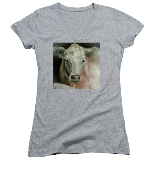 Charolais Cow Painting Women's V-Neck T-Shirt (Junior Cut) by Michele Carter
