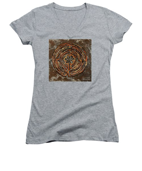 Chartres Style Labyrinth Earth Tones Women's V-Neck