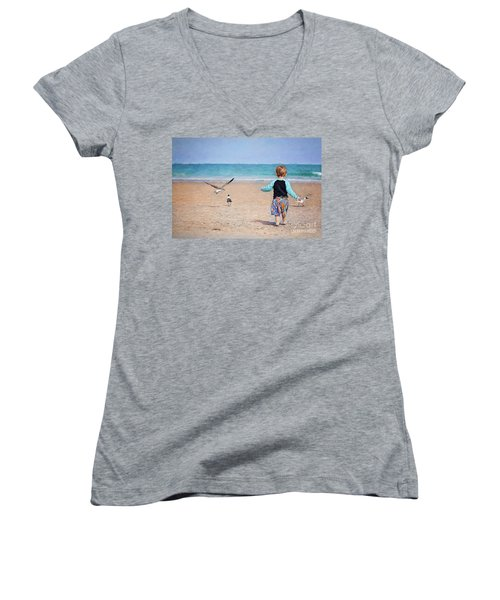 Chasing Birds On The Beach Women's V-Neck