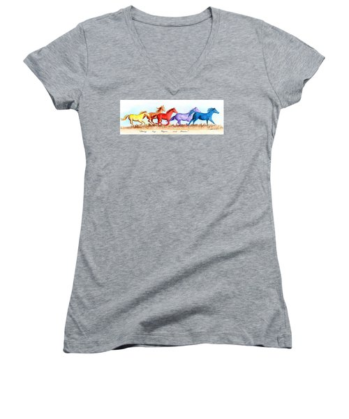Women's V-Neck T-Shirt (Junior Cut) featuring the painting Chasing My Hopes And Dreams by LeAnne Sowa