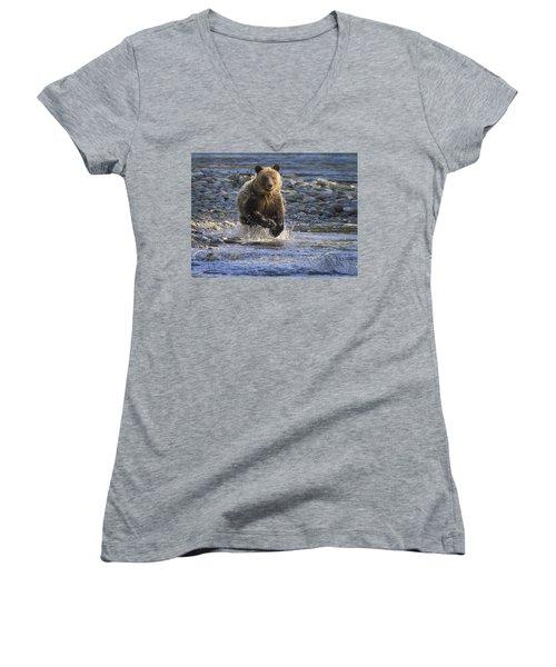 Chasing Salmon Women's V-Neck T-Shirt (Junior Cut) by Inge Riis McDonald