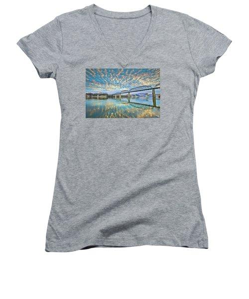 Chattanooga Has Crazy Clouds Women's V-Neck T-Shirt (Junior Cut) by Steven Llorca