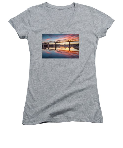 Chattanooga Sunset 5 Women's V-Neck (Athletic Fit)