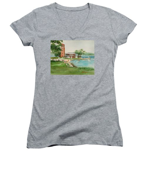 Chautauqua Bell Tower And Beach Women's V-Neck T-Shirt