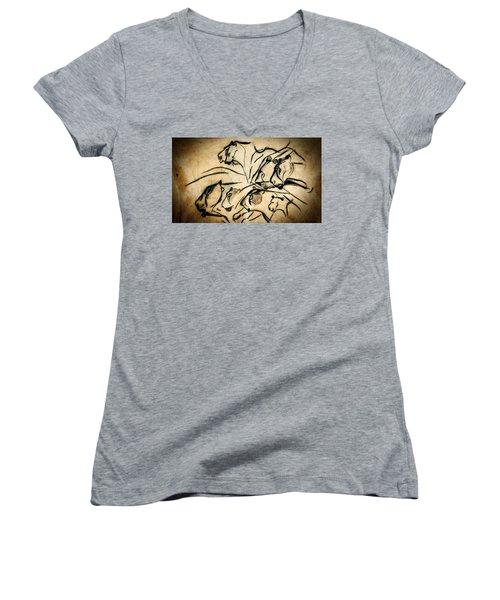 Chauvet Cave Lions Women's V-Neck T-Shirt