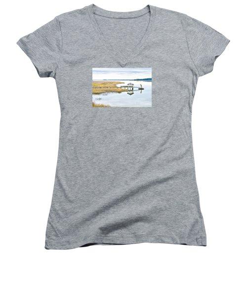 Chechessee Creek Dock Women's V-Neck T-Shirt (Junior Cut) by Scott Hansen