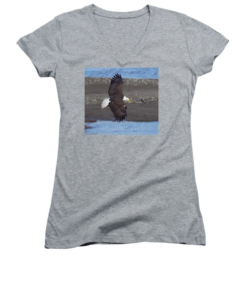 Women's V-Neck T-Shirt (Junior Cut) featuring the photograph Checking Out The River by Elvira Butler