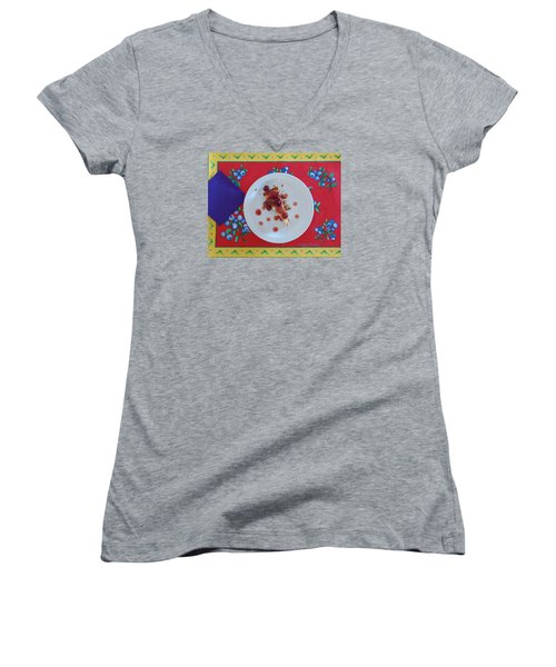 Cheese Cake With Cherries Women's V-Neck T-Shirt