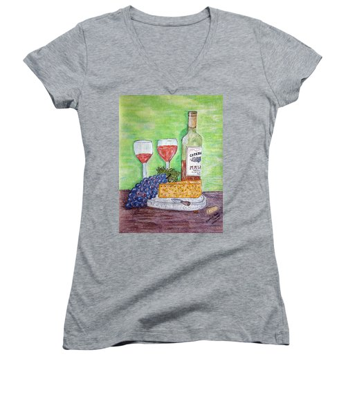 Women's V-Neck T-Shirt (Junior Cut) featuring the painting Cheese Wine And Grapes by Kathy Marrs Chandler