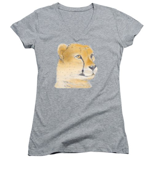 Cheetah 3 Women's V-Neck T-Shirt (Junior Cut) by Gilbert Pennison