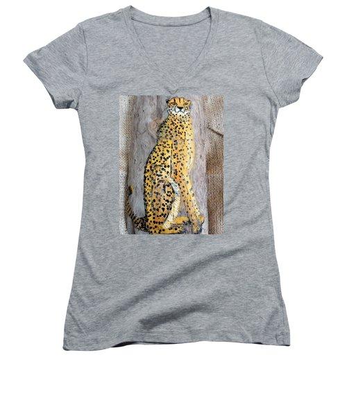 Cheetah Women's V-Neck T-Shirt (Junior Cut) by Ann Michelle Swadener